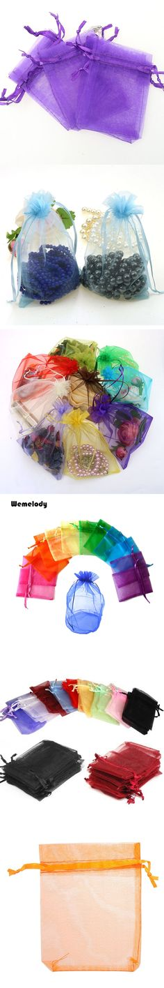50pcs 9*11CM mixed colors Organza Wedding Gift Bags Jewelry Candy Packing Drawable Organza Bags & Pouches free shipping