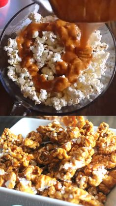 Homemade Caramel Popcorn Homemade Caramel Popcorn- great christmas gifts in a bag. Gourmet Popcorn, Popcorn Recipes, Caramel Recipes, Snack Recipes, Dessert Recipes, Cooking Recipes, Popcorn Gift, Popcorn Snacks, Dessert Drinks
