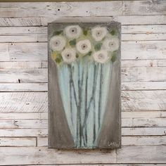 Blue Vase Painting by Cecel Allee Pallet Painting, Painting On Wood, Watercolor On Wood, Cup Art, Acrylic Flowers, Pastel, Country Art, Painting Inspiration, Flower Art