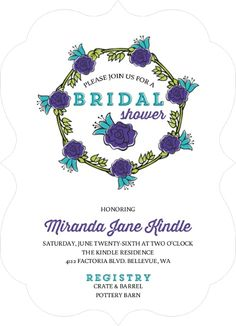 Clean and elegant teal bridal shower invitation by weddingpaperie easily customize this whimsical spring wreath bridal shower invitation design using the online editor all of our bridal shower invitations design templates filmwisefo Image collections