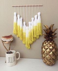 tassel mobile, yarn tassel garland, dip dye tassels, dip dye mobile, bohemian nursery, woven wall hanging, yarn tassels, wall woven decor by PineapplePhi on Etsy https://www.etsy.com/listing/455913142/tassel-mobile-yarn-tassel-garland-dip