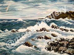 Artist: Rigatou Maria Title: Aegean Sea 80x60dim mixed media 650euro Laurel Leaves, Oak Leaves, Greek Crown, Gold Leaf Crown, Golden Leaves, Greek Wedding, Pebble Art, Sea Shells, Euro