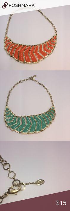 "Amrita Singh reversible bib necklace. Gold tone reversible orange/turquoise bib necklace. 17"" circumference Amrita Singh Jewelry Necklaces"
