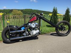 """ Find more amazing custom bikes HERE"" Chopper Motorcycle, Bobber Chopper, Motorcycle Design, Harley Davidson Custom Bike, Harley Davidson Panhead, Custom Choppers, Custom Bikes, Hd Vintage, Old School Chopper"