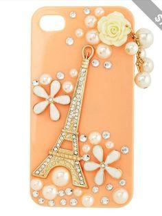 #peach #pearls #white #case #iphone