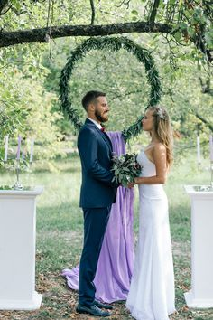 СЪЕМКА ПОБЕДИТЕЛЕЙ КОНКУРСА ОТ ПОРТАЛА MARRY.UA Wedding ceremony purple and marsala, greenery wreath with columns. Fine art wedding ideas