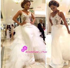 2016 Mermaid Spaghetti Straps Lace Wedding Dresses with Detachable Tiers Train Over Skirts Nigerian Said Mhamad Arabic Long Bridal Gowns Online with $220.71/Piece on Xiaoxiao_2016's Store   DHgate.com