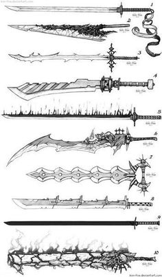 Sword Designs 5 by Iron-Fox on DeviantArt You are in the right place about Character Design Anime Weapons, Fantasy Weapons, Fantasy Sword, Art Reference Poses, Design Reference, Sword Reference, Hand Reference, Drawing Reference, Armes Concept