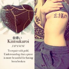 """The world breaks everyone, then some become strong at the broken places."" Ernest Hemingway #newtatt #Kintsugi #Kintsukuroi"