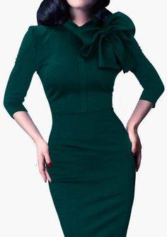 Cupshe A Little Inspiration Bow Bodycon Dress. Green Dress.