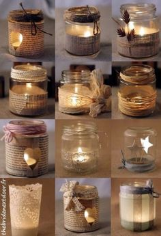 Rustic Christmas Mason Jar Ideas Here are different ways to decorate a simple mason jar candle holder. Use old music sheets, or book sheers, some twigs, ribbons and more. candles in mason jars easy Mason Jar Christmas Crafts, Christmas Candles, Mason Jar Crafts, Bottle Crafts, Rustic Christmas, Christmas Diy, Christmas Decorations, Wedding Decorations, Coffee Jar Crafts