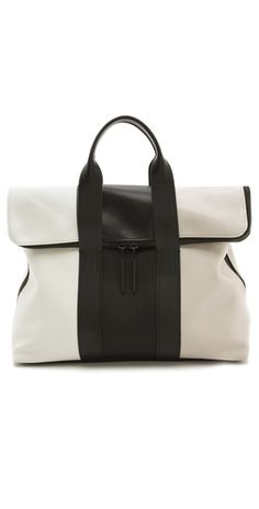 3.1 Phillip Lim Tricolor 31 Hour Bag - - Fashion Week Style 2014 - Black and white leather - purse chic style  - www.wcbeez.com