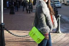 Pop of color. High Fashion Looks, Neon Lighting, Neon Yellow, Types Of Shoes, Me Too Shoes, Color Pop, My Design, Cool Designs, Satchel