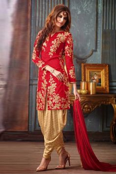 This Exclusive Patiala Suit Is An Ultimate Party Wear Collection With The Mesmerizing Colours Of Red With The Artistic Embroidery,Thread Work , Leave No Stone Unturned And Be At Your Fashionable Best....