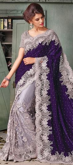 Dark Blue and Grey Velvet and Net Saree With Readymade Blouse Pakistani Wedding Outfits, Pakistani Bridal Wear, Pakistani Dresses, Indian Sarees, Indian Dresses, Indian Outfits, Wedding Sarees, Indian Clothes, Mehndi