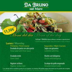 Menú of the day / Menú del día en Da Bruno Sul Mare  11,50€ dos platos 1 bebida