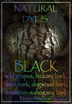 BLACK - wild grapes, hickory bark, alder bark, dogwood bark, mountain mahogany bark