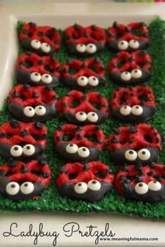 We made these fun ladybug pretzels for Kenzie& spring party. These chocolate covered pretzels were the hit at the party. Ladybug Pretzels, Ladybug Cookies, Ladybug Cupcakes, Kitty Cupcakes, Snowman Cupcakes, Giant Cupcakes, Magnum Paleta, Ladybug Party, Ladybug Food