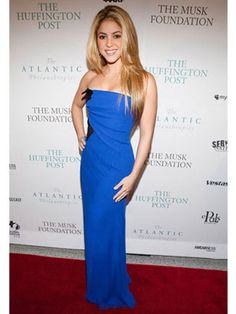 Shakira - love the shade of blue used in this form-fitting gown.