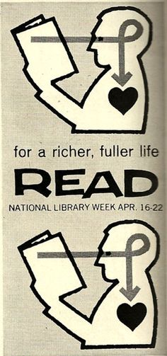 Lovely vintage PSA for National Library Week circa 1961, a fine complement to these vintage literacy posters from the WPA