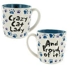 What's so crazy about being a cat lady? You love felines -- and best of all, they love you. Our Crazy Cat Lady Grande Mug features a bevy of heart-shaped paw prints along with the words Crazy Cat Lady...and proud of it!