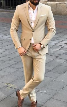 Beige Wedding Tuxedos 2019 Two Button Back Vent Custom Made Men Suit For Prom Best Man Suit Slim Fit Groom Tuxedos (Jacket Pants ) Weddings Beige Suits For Men, Navy And Black Suit, Mens Tuxedo Suits, Blue Suit Men, Tuxedo For Men, Blue Suits, Beige Wedding, Wedding Suits, Wedding Tuxedos