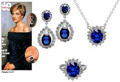 Faux sapphire Princess Diana's engagement ring, plus matching necklace and earrings. We also have a replica of Princess Diana's ring that was said to be the Princess Diana engagement ring from Dodi Fayed. Princess Diana Engagement Ring, Princess Diana Jewelry, Princess Kate, Royal Crown Jewels, Royal Jewelry, Princesa Kate Middleton, Celebrity Engagement Rings, Celebrity Couples, Diana Wedding