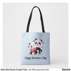 Adorable Panda Couple Valentine   Tote Bag Edge Design, Personalized Products, Happy Valentines Day, Panda, Reusable Tote Bags, Elegant, Stylish, Couples, Simple