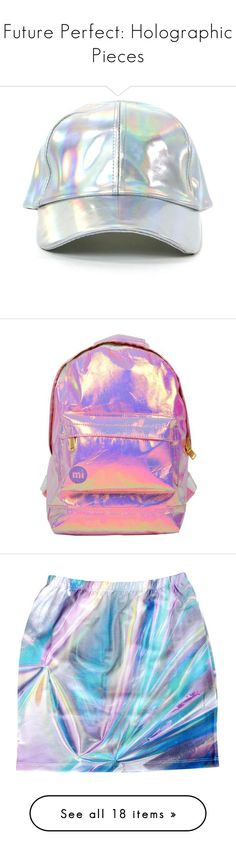 """""""Future Perfect: Holographic Pieces"""" by polyvore-editorial ❤ liked on Polyvore featuring holographic, hats, accessories, head, bags, backpacks, pink, polyurethane bags, mini bag and summer bags"""