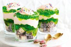 Lamington and marshmallow mousse trifles