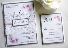 Pretty grey and blush lace watercolor wedding invitations from always, by amber.
