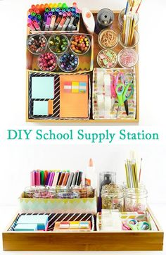 Diy school supply station diy organisation chambre, office supply organization, back to school diy Diy Organisation, School Supplies Organization, Diy School Supplies, Room Organization, Office Supplies, Craft Supplies, Stationary Organization, Organizing Ideas, Homeschool Supplies
