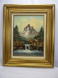 H Foster Original Oil on Canvas Scenic Landscape Mountain Cabin w/Waterfall