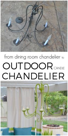 DIY Outdoor Chandelier Such a cool way to upcycle those builder grade chandeliers! She created an outdoor candle chandelier for her amazing outdoor living space! via Hey There, Home Outdoor Candles, Outdoor Chandelier, Candle Chandelier, Solar Light Crafts, Solar Lights, Solar Led, Chandelier Design, Chandelier Ideas, Chandelier Makeover
