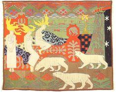 Daughters of the Northern Light Gerhard Munthe (Noruega, Textile Fiber Art, Textile Artists, Textiles, Textile Patterns, Contemporary Tapestries, Scandinavian Tapestries, Art Costume, Tapestry Design, Yarn Bombing