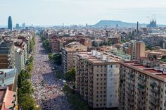 People march during a Catalan Pro-Independence demonstration celebrating the Catalan National Day on September 11, 2015 in Barcelona, Catalonia. The Spanish northeastern autonomous region celebrates its National Day on September 11 which coincides with the start of the Catalonian parliamentary election campaign. Political Parties for and against independence of Catalonia will hold regional elections on September 27.