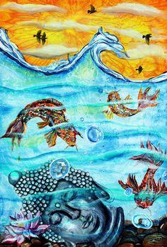 Buddha Gemälde, Koi-Fische, Statue, Wasser, Lotusblüte, Wandkunst, Wohnkultur, Henna, buddhistische, Zen, Buddhismus, Mönche, Mandala, Wandbehang, Kunst