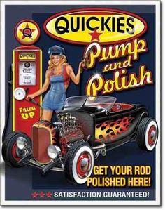 Gas Station Garage Tin Sign Quickies Pump Polish Pin Up Garage Signs, Garage Art, Car Signs, Garage Metal, Garage Bedroom, Vintage Metal Signs, Vintage Pins, Vintage Style, Retro Vintage
