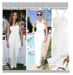 """""""Who Wore It Better?Jamie Chung or Olivia Palermo in Lovers + Friends Adore You Jumpsuit"""" by kusja ❤ liked on Polyvore featuring Lovers + Friends, Jimmy Choo, Francesco Russo, WhoWoreItBetter, OliviaPalermo, jamiechung and wwib"""