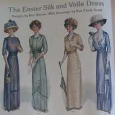 """Note that all the skirts have attractive details between the hipline and hem, including wide tucks and decorative buttons. The bodice on the far right shows the draping now growing in popularity"""