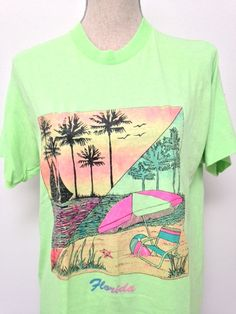 Vintage Florida Neon Tshirt by on Etsy Vintage Florida, 80s Fashion, Fasion, 80s Tees, Best Cosplay, Vintage Shirts, Costume Accessories, Pretty Outfits, Cool Shirts