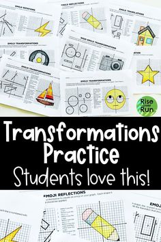This is a transformations activity that is so engaging... and challenging!  When students translate, reflect, rotate, and dilate figures, images of emojis are revealed.  Perfect for 8th grade geometry or high school math. Geometric Transformations, Rise And Run, Math Magic, Fun Math Activities, 8th Grade Math, Common Core Math, Group Work, Activity Sheets, Math Lessons