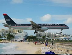 Sint Maarten Airport - US Airways Aviation Humor, Civil Aviation, Jets, Piedmont Airlines, Us Airways, Porto Rico, Scary Places, Scary Things, Strange Things