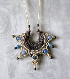 macrame pendant/boho necklace/agate gemstone/crystal beads/beige and blue/bronze beads/vintage alloy charm by EnjoyITcrafts on Etsy Handmade Jewelry, Unique Jewelry, Handmade Gifts, Crystal Beads, Crystals, Agate Gemstone, Boho Necklace, Macrame, Bronze