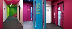 Love the neon colours - public areas / senzoku kaguen college of music