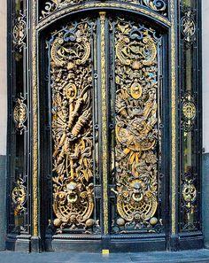 Bronze Door,Argentina, Buenos Aires, Centro Naval, Ornate and Highly-Detailed Doorway Knobs And Knockers, Door Knobs, Door Handles, Cool Doors, Unique Doors, Entrance Doors, Doorway, Portal, Gates