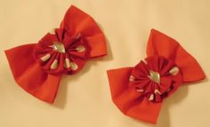Red Fabric Bows with Rose applique on Alligator Hair Clips