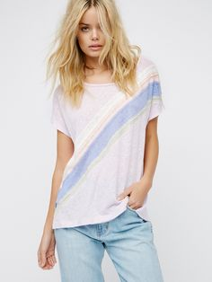 Thien Tee | Relaxed tee with a comfy cotton-linen blend fabrication. Features a multi-colored diagonal stripe design all around with unfinished edges for a lived-in look. Subtle side vents. Semi-sheer.
