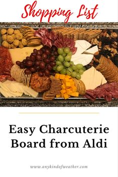 Beautiful and easy charcuterie board with ingredients from Aldi. Easy checklist for a variety of cheeses, meats, nuts, olives, fruits and spreads to make a fantastic holiday display. Aldi Cheese, Easy Cheese, Meat And Cheese, Charcuterie Recipes, Charcuterie And Cheese Board, Cheese Board Display, Charcuterie Display, Cheese Boards, Meat Appetizers