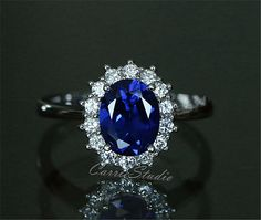 Royal Style Oval Sapphire Ring Lab Sapphire by CarrieStudio